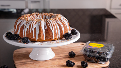 Pumpkin Cake with Blackberries