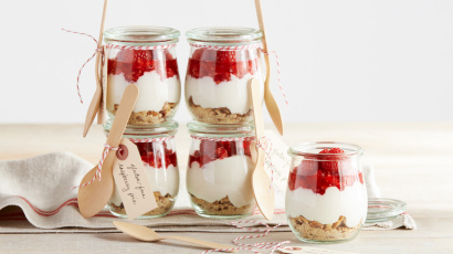 Gluten Free Raspberry Ice Box Pies in a Jar