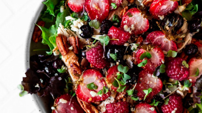 Roasted Triple Berry Salad with Honey Citrus Vinaigrette