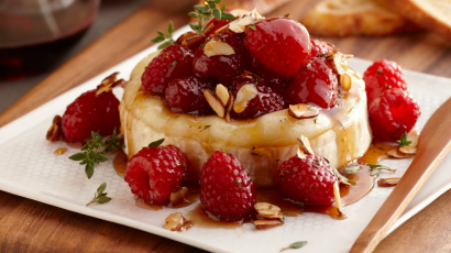 Raspberry Brie with Honey & Almonds