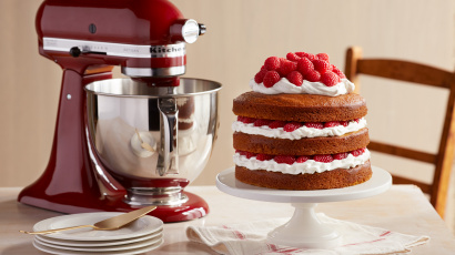 Pumpkin Cake with Raspberries and Cream